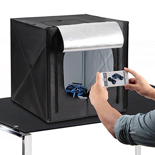 Galleria fotografica Amzdeal Kit Tenda Studio 50 x 50 cm Scatola Fotografica con Striscia LED 5500K + 4 Panni Sfondi Professionali (Bianco, Nero, Grigio, Arancione)