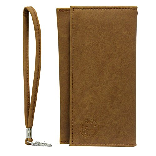 Jo Jo A5 Nillofer Leather Wallet Universal Pouch Cover Case For Htc Desire 700 Tan
