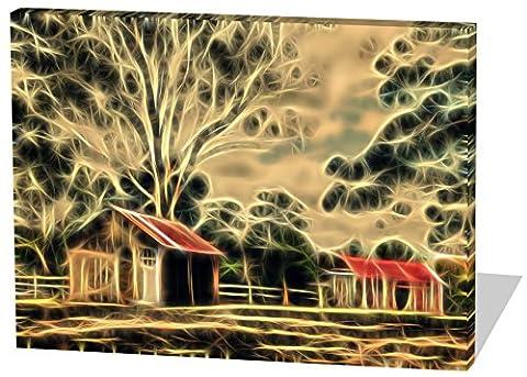 Alte Ranch, Light Effect, schönes und hochwertiges Leinwandbild zum Aufhängen