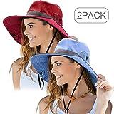 Norme 2 Pezzi Donne all'Aperto Cappello da Sole Protezione UV Pieghevole Maglia Larga Cappello da Pesca della Spiaggia di Brim (Rosso, Blu)