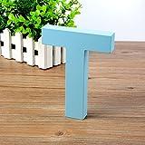 Doolland Wandbuchstaben aus Holz A-Z - Blau Deko Wandbuchstabe für Kinderzimmer Babyzimmer Baby Name Mädchen Schlafzimmer Dekor T