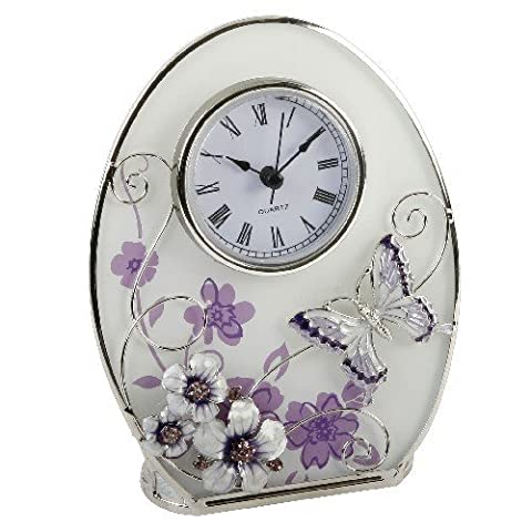 Beautiful 'Juliana,' oval, glass, clock decorated with purple flowers, crystals
