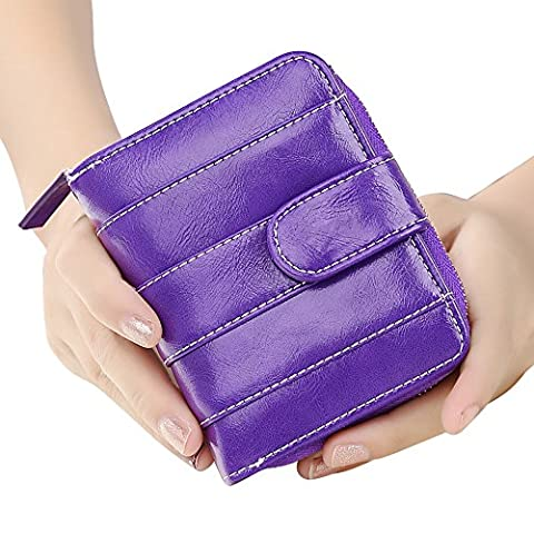 Woolala Stripe Vegan Leather Small Wallet Bifold Oil Waxed Leather Short Purse for Women, Blue