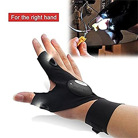 uhoMEy Night Fishing Glove Right Hand with LED Light Rescue Tools & Outdoor Gear (right)