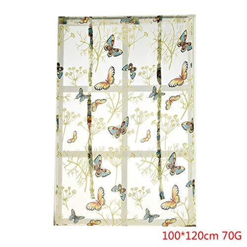 Morelyfish Voile Print Küche Vorhänge Roman Fenster Jalousien Wohnzimmer Schlafzimmer Valance Panels Window Treatment (Print-panel Vorhänge)
