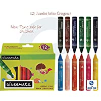 12 Bright Shades CLASSMATE Jumbo Wax Crayons Assorted Colours - Colouring Painting Shading Sketching