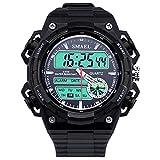 AnazoZ Reloj Deportivo Reloj de Doble Pantalla Reloj Hombre Moda Relojes Electronicos Reloj Impermeable Reloj de Estudiante Negro
