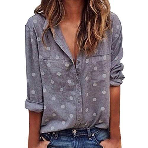 Dragon868 Damen Bluse Hemd V Ausschnitt Button Down Shirt Kragen Langarmshirt Casual Oberteile -