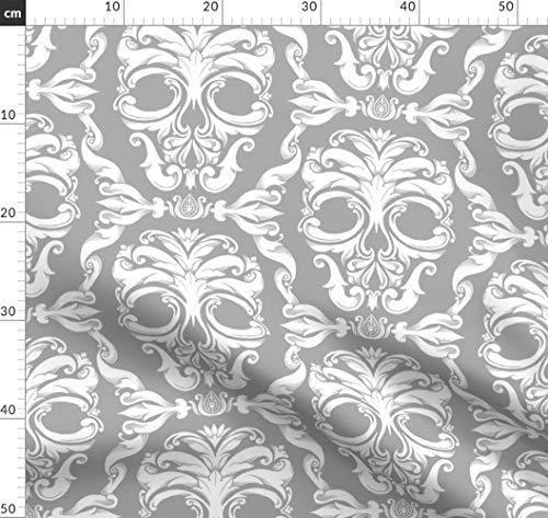 Halloween, Totenkopf, Viktorianisch, Damast, Französisch, Skelett Stoffe - Individuell Bedruckt von Spoonflower - Design von Thecalvarium Gedruckt auf Leinen Baumwoll Canvas