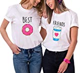 Best Friend Shirts Cartone Animato Cotone Coppia T-Shirt Stampa Manica Corta Maglietta Migliori Amici Tumblr Graphic Girocollo Estate per Donna Moda(Bianco+Bianco,Best-XS+Friends-XS)