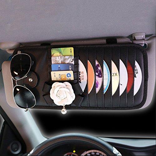 inebiz Luxus Auto Charme Schönes Camellia Leder Auto Sonnenblende 8-pockets CD & DVD Organizer mit Brille und Stifthalter