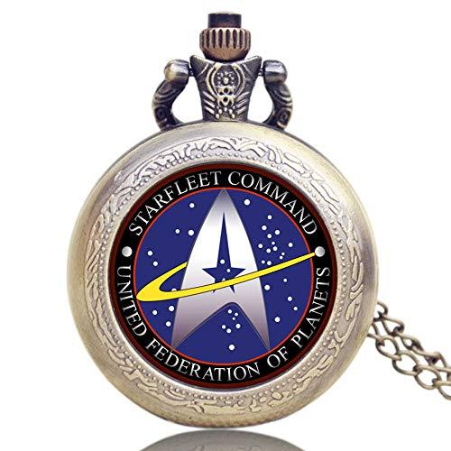 Star Trek Taschenuhr Archaize Holz Bronze Römische Zahlen Taschenuhr für Herren Taschenuhr Geschenk
