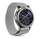 Elobeth für Samsung Gear S3 Armband,Milanese Loop Edelstahl Armband für Gear S3 /Moto 360 2nd 46mm/Pebble Time/LG G Watch W100/W110/Galaxy Watch 46mm(Silver)
