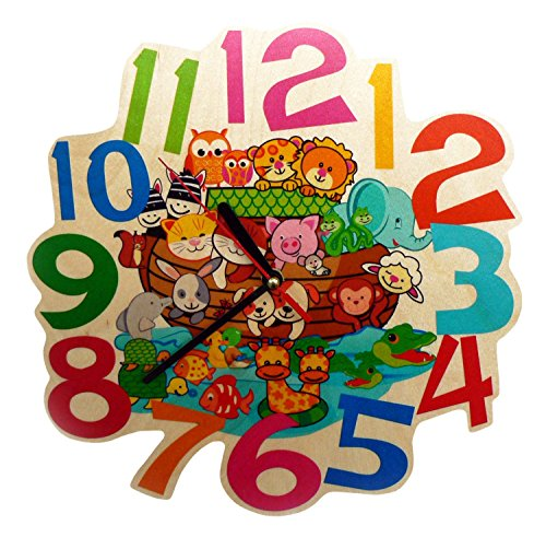 Hess Holzspielzeug 30003 Kinderwanduhr Arche aus Holz, Durchmesser 21 cm