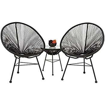 relaxdays fauteuil de jardin r tro ann es 60 uf fil raya lot de 2 en plastique fil balcon. Black Bedroom Furniture Sets. Home Design Ideas