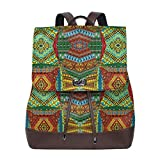 Women's Leather Backpack,Collage of Ethnic Native Motifs Ancient Art Traditional Old Fashioned Cultural,School Travel Girls Ladies Rucksack