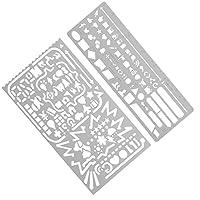 MagiDeal Zeichenschablonen Tragbare Messing Vorlage Set Lesezeichen Lineal Zeichnen Schablone Kinderhandwerk Werkzeug Silber