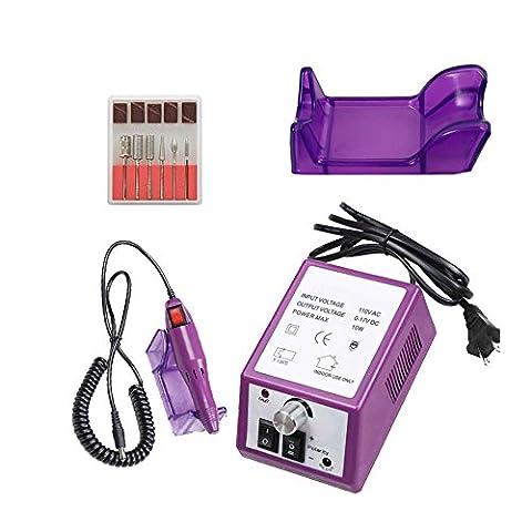 Kit Complet Manucure Machine Ongles Electrique Pédicure Ponceuse Violet + 6 Embouts ponçage