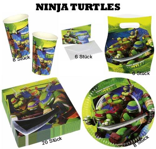 (Ninja Turtles Partyset Teller + Becher + Servietten + Partytüten + Karten)