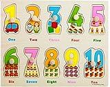 Doolland clásico rompecabezas de madera-10 PCS (1 a 10) números de madera rompecabezas gruesos, números y emparejar clavija de madera rompecabezas de educación preescolar para niños pequeños