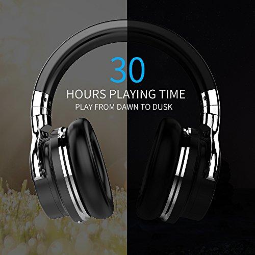 COWCOWIN E7 Kabellose Bluetooth Kopfhörer Over Ear Wireless Headphones mit Mikrofon, schwarz - 4