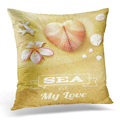 kissenbezüge Pink Abstract Sunny Dunes with Heart Shaped Seashell Sand Dollars and Flower White Aquatic Beach Decorative Pillow Case Home Decor Square 18x18 inches Pillowcase