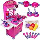 Toyshine Big Size Kitchen Set Toy With Music And Lights, Playing Accessories, Pink