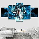 5 Panels Wandkunst Dragon Ball Goku Leinwanddrucke Bild auf Leinwand Gerahmt Fertig zum Aufhängen für Zuhause Wand Dekoration Kunstwerk Schlafzimmer Büro,A,40x60x2+40x80x2+40x100cmx1