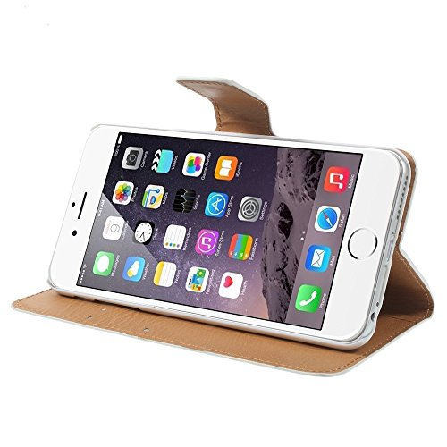 """A4E  coque de protection pour apple iPhone 6 plus (5,5 """") étui de protection en cuir synthétique avec fermeture magnétique, fonction support et compartiments cartes motifs différents weiß mit Blumen"""