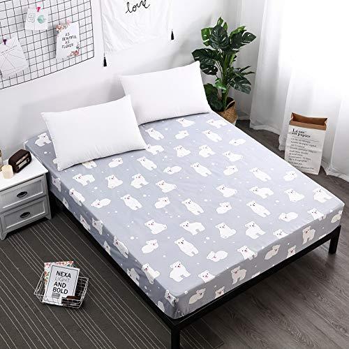 BBQBQ Wasserdichter Matratzenschoner - atmungsaktive Matratzenauflage,Vollpolyesterdruck ohne verblassende Schutzhülle Kleiner weißer Bär 200X200cmX25cm - Visco Pillow-top-matratze