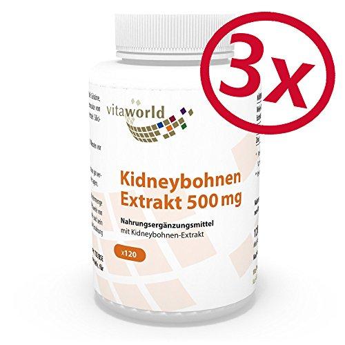 3er Pack Vita World Kidney Bohnen Extrakt 500mg 360 Kapseln mit Wirkstoff Phaseolin Apotheker-Herstellung -