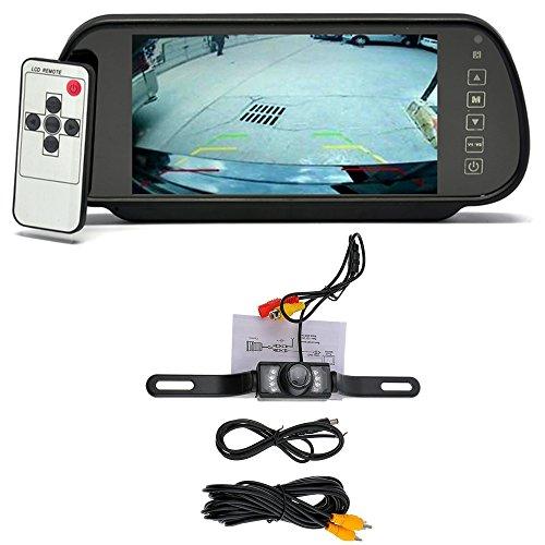 Fahrzeug / Automobil Reversing Kit, 7 Zoll 16: 9 TFT LCD Breitbildschirm Auto Rearview Monitor Spiegel mit Touch Schaltfläche + Wasserdichte Hochauflösend Wide Viewing Winkel Auto Rückansicht Kamera mit 7 Infrarot Nachtsicht LED