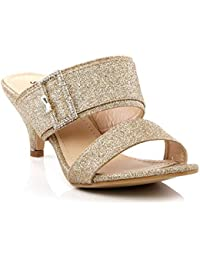 ceafd29c1355 Women Ladies Glittery Buckled Dual Strap Evening Wedding Party Sandals  Slide in Special Occasions Shoes Size