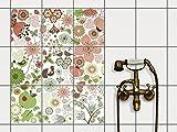 creatisto Fliesen | Design-Dekorsticker Küchenfolie Bad-Fliesen Badgestaltung | 20x25 cm Design Motiv Flower Pattern - 9 Stück