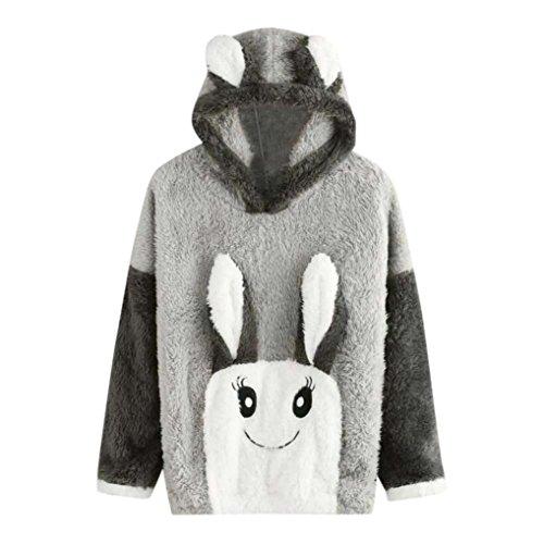 Rosa Mantel Stil Pyjama (Damen Hoodie Sweatshirt FORH Frauen langarm Hoodie Sweatshirt Warme Flanell Kapuzenpullover Niedlich Bear Rabbit Ohr Stil Kapuzenpulli mantel Kapuzen bequem Zuhause pyjamas tops (XXL, Rabbit))