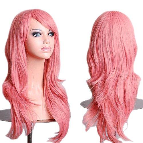 lockt Gewellt Lang haar Perücke Rosa Volle Perücken Cosplay Kunsthaar Wig (Rosa Damen Haar)