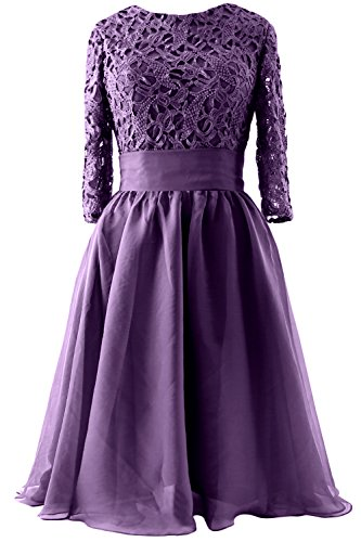 MACloth Women 3/4 Sleeve Lace Short Mother of Bride Dress Formal Evening Gown purple