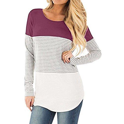 T-shirt Donna,LandFox Donne Casuale Manica lunga A strisce Patchwork Elastico Top Camicetta Maglietta Viola