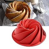 Silikon Gugelhupfform, Bundform und Muffinform für Muffins, Cupcakes, Pudding und Eiswürfel, Backform 25 cm, Rot