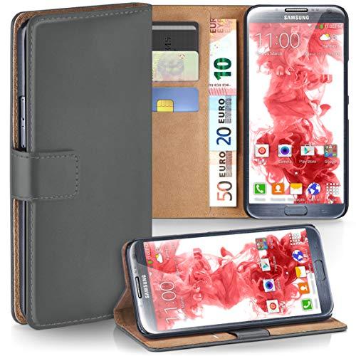 moex Samsung Galaxy Note 2 | Hülle Dunkel-Grau mit Karten-Fach 360° Book Klapp-Hülle Handytasche Kunst-Leder Handyhülle für Samsung Galaxy Note 2 Case Flip Cover Schutzhülle Tasche
