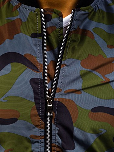 BOLF Herren Sweatjacke Bomberjacke Fliegerjacke Übergangs Army Camo 4D4 Motiv Grau