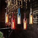 AMZH Nordic Restaurant Bar Metall Glas Kronleuchter Creative Cafe Farbe Weinflasche Glas Anhänger Lichter E27 110V 220V