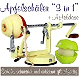 Profi Alu- Apfelschäler Apfelschneider Apfelentkerner Schälmaschine mit Apfeldose, in Vanilla-Gelb, original Made for us