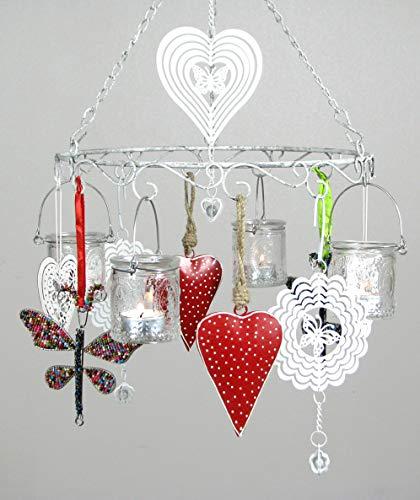 Trendoro Hängeleuchter, Windlicht, Hängekranz Metall Silber-Grau mit Antik-Patina Ø 30 cm mit 4 Hänge-Teelichthaltern & kompl. Dekoration, 14-teiliges Set. *N105*