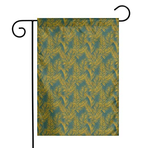Faux Gold Glitter Palm Leaves Art Garden Flag Yard Flag 12