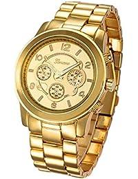 5523ed7a408c Reloj de pulsera - Geneva reloj de pulsera unisexo de banda de acero  inoxidable de color