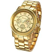 Reloj de pulsera - Geneva reloj de pulsera unisexo de banda de acero inoxidable de color