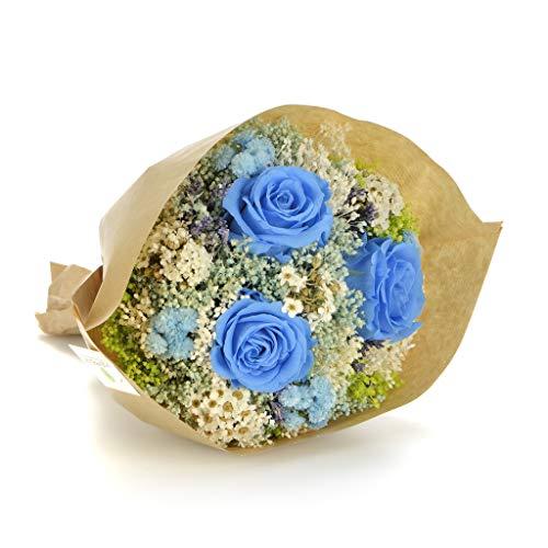 Bouquet momenti (azzurro) sanremo fiori essiccati dalla riviera dei fiori con tre rose stabilizzate ...