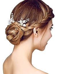 YAZILIND elegante tocado de Novia de pelo pines aleacion flores cubicos Zorconia boda accesorios para el cabello mujeres y ninas (2 piezas)
