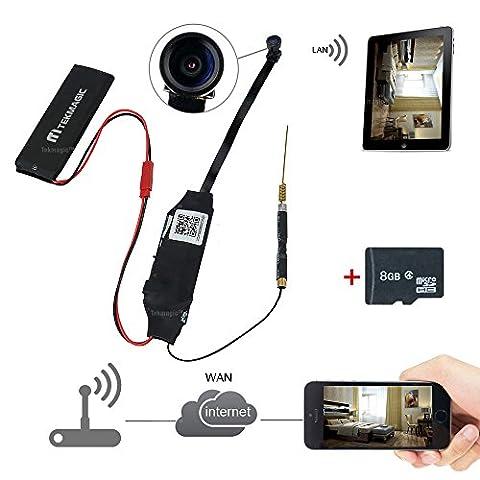 TEKMAGIC 8GB 1920X1080P HD Mini Wifi Réseau Caméra Espion Caméscope DV Magnétoscope avec 140 ° Grand Angle de Vue Soutien iPhone Android App Vue à Distance